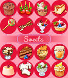 Great set of sweets and pastries Stock Image