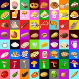 Great set of various food, 64 objects Stock Photos