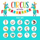 Large set of vector cliparts circus artists and trained animals. Vector illustration. A great set of vector clipart circus artists and trained animals. Round Royalty Free Stock Image