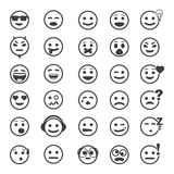 Great set of vector icons with smiley faces Stock Image