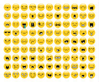Great set of 99 yellow emotion isolated on white. Emoji. Set. Anger and compassion. Laughter and tears. Smile and sadness. Sadness and surprise. Happiness and vector illustration
