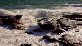 Great shot of breaking ocean waves wild water stock video footage