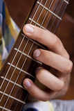 Really great shot capturing detail of a guitarist Stock Photo