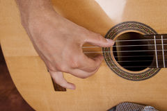 Really great shot capturing detail of a guitarist Stock Photos