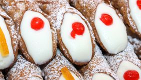 Great Sicilian cannoli with the icing and cream dessert Stock Images