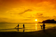 Great silhouette fisherman Royalty Free Stock Images