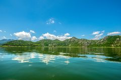 Skadarsko Jezero, Crna Gora, a nature reserve. The Great Skadar Lake, a wonderful nature reserve, a huge natural water reservoir overgrown with a variety of royalty free stock image
