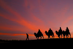 Great sky and caravan travelers riding camels. Stock Photos