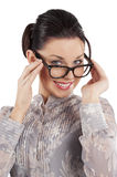 Great smile of young girl with glasses Royalty Free Stock Photo