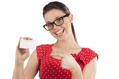 Great smiling woman in red Stock Image