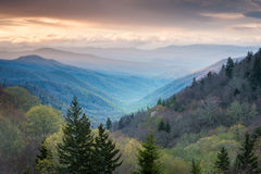 Great Smoky Mountain Oconaluftee Valley Overlook Spring Landscape Scenic Royalty Free Stock Image