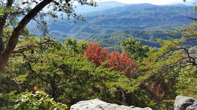 Great smoky mountains. Beginning of fall in three smoky mountains 'look rock Royalty Free Stock Photos