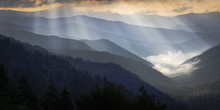 Great Smoky Mountains. An early morning view of Great Mountains National Park above a cloud filled valley Royalty Free Stock Photos