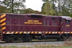 Great Smoky Mountains-Eisenbahn in Bryson City, North Carolina Stockbilder