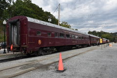 Great Smoky Mountains-Eisenbahn in Bryson City, North Carolina Stockfotografie