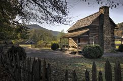 Great Smoky Mountains för museum för Oconaluftee berglantgård medborgare Arkivfoton