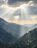 Great Smoky Mountains Gatlinburg TN Sun Rays sunset Stock Photo