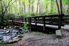 Great Smoky Mountains Kephart Prong Bridge. The Kephart Prong trail takes the hiker to Newfound Gap, the dividing line between North Carolina and Tennessee. The Royalty Free Stock Image