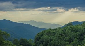 View Landscape Great Smoky Mountains National Park. Great Smoky Mountains National Park, North Carolina, USA - June 19, 2018: Sunrise Landscape Great Smoky stock image
