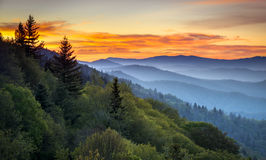 Great Smoky Mountains National Park Scenic Sunrise Landscape. At Oconaluftee Overlook between Cherokee NC and Gatlinburg TN royalty free stock images