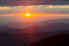 Great Smoky Mountains National Park at Sunset. Clingmans Dome in Great Smoky Mountains National Park at sunset Stock Photos