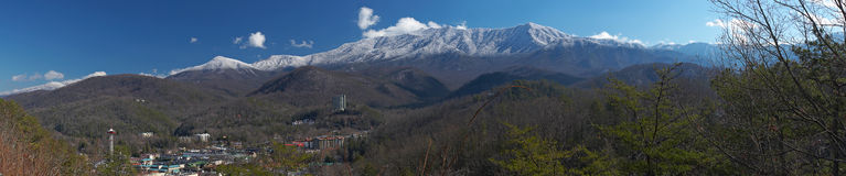 Great smoky mountains pano. With Gatlinburg, TN in the foreground Royalty Free Stock Photo