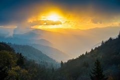Great Smoky Mountains at Sunrise. With mist Stock Photo