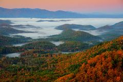 Great Smoky Mountains at Sunrise. With mist Stock Photography