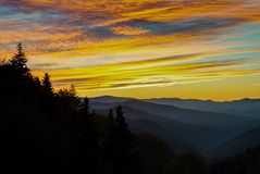 Great Smoky Mountains at Sunrise. Newfound Gap in Great Smoky Mountains National Park at sunrise Royalty Free Stock Photos