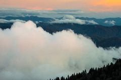 Great Smoky Mountains at Sunset. With clouds Stock Images