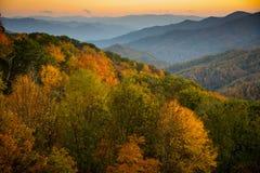 Great Smoky Mountains at Sunset. Webb Overlook in Great Smoky Mountains National Park at sunset Stock Photo