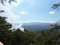 Great smoky mountains tennessee view from look rock. Smoke rises from a controlled fire in Tennessee mountains Stock Photo