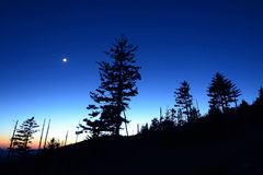 Great Smoky Mountains TN Night Silhouette Stock Photo