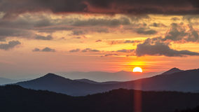Great Smoky Mountains-Zonsondergang NC Royalty-vrije Stock Afbeelding