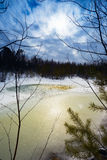Great snow thawed patch in the woods spring. Royalty Free Stock Photos