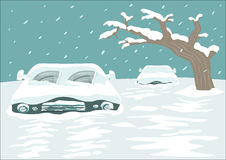 Great Snowfall Blizzard Covers a Street with Cars. Editable Clip Art. Cold spell concept. Blizzard blankets a city with cars and streets covered with Snow stock illustration