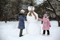 Great snowman Royalty Free Stock Images