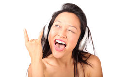 Great song. Young teen listening to a kicking, awesome song Royalty Free Stock Photos