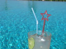 Great Soothing Drink At The Pool !. Refreshing drink at the poolside Royalty Free Stock Photos
