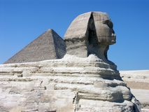 The Great Sphinx. And the Great Pyramid of Khufu (Cheops Stock Photography