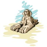 The Great Sphinx. Vector illustration of the great sphinx against abstract background Royalty Free Stock Images