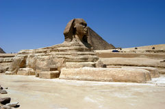 Great sphinx in Cairo. Great sphinx in front of pyramids, Giza, Cairo, Egypt Royalty Free Stock Photography