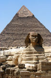 Great sphinx in Cairo. Great sphinx in front of pyramid, Giza, Cairo, Egypt Stock Photos