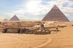 The Great Sphinx in front of the Pyramids, Giza, Egypt.  stock image