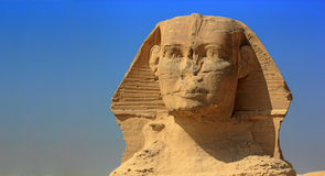 The Great Sphinx of Giza. Egypt. Cairo - Giza. The Sphinx face. The Pyramid Fields from Giza to Dahshur is on UNESCO World Heritage List Stock Images