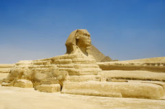 Great Sphinx of Giza. Half-lion Sphinx statue in Egypt on Giza Plateau at west bank of Nile River royalty free stock photo