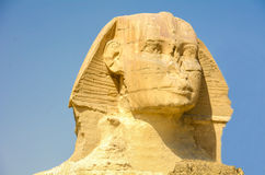 The Great Sphinx of Giza, Egypt. The Great Sphinx of Giza. Monumental limestone statue with a lion's body and a human head. Giza, Egypt Royalty Free Stock Images