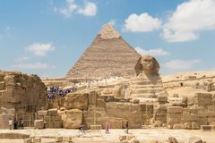 The pyramid of Khafre and the Great Sphinx of Giza royalty free stock images