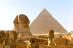 Great Sphinx and Khafre pyramid royalty free stock images