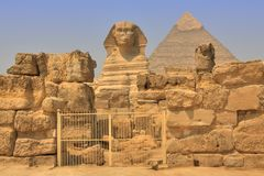 Great Sphinx and Khafre Pyramid Royalty Free Stock Image